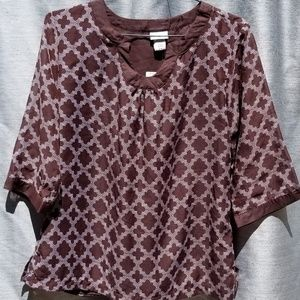 NEW Brown Jaclyn Smith 3/4 Sleeve Top LARGE
